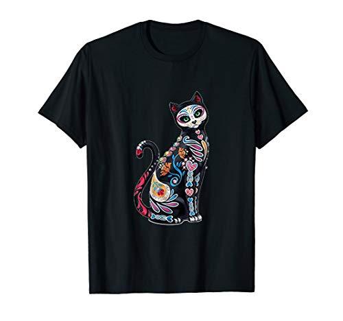 Mosaic Sugar Skull Day Of The Dead Cat Art Shirt Gift
