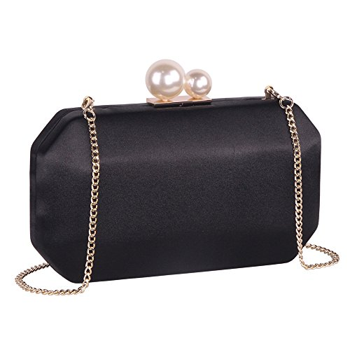 Black Satin Clutch Purse Handbags with Pearls Closure for Women, Crossbody Hardcase Evening Bag with Strap Chain for ()