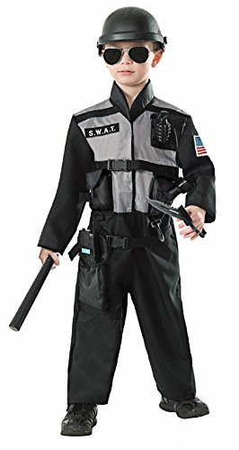 [Combat Hero SWAT Team Uniform Policeman Police Man Officer Child Boys Costume] (Indian Policeman Costume)