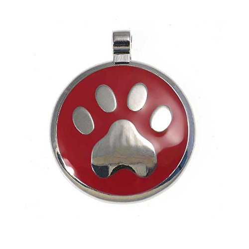 LuckyPet Paw Print Enamel Jewelry Pet ID Tag for Dogs and Cats, Personalized Engraving on The Back Side, Large (1 & 3/16 inches), Red ()