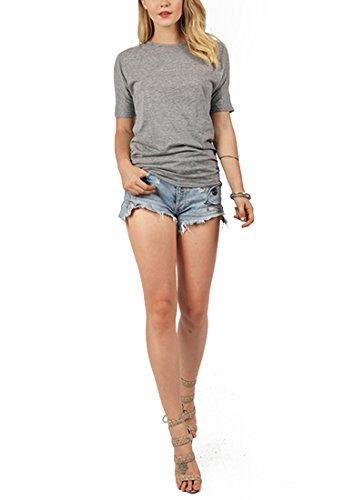 Womens Summer Solid Color Crewneck Short Sleeve Texture Cotton T-Shirt Tops Blouse Grey US 8-10/Tag Size ()
