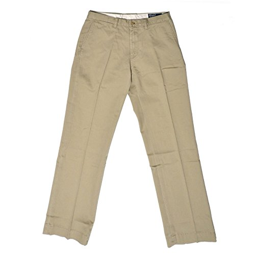Polo Ralph Lauren Mens Classic Fit Flat Front Chino (Hudson Tan, (Ralph Lauren Khaki Chino)