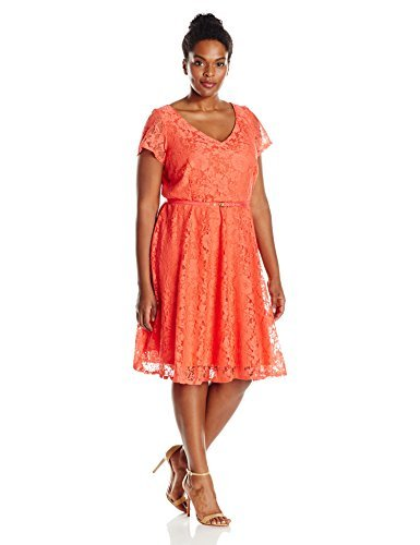 Julian Taylor Women\'s Plus Size A-line All Over Lace Dress