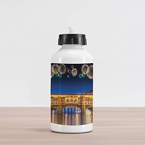 Ambesonne Landscape Aluminum Water Bottle, Night Panoramic View Vecchio Bridge Florence Italy Colorful Fireworks, Aluminum Insulated Spill-Proof Travel Sports Water Bottle, Yellow Navy Purple