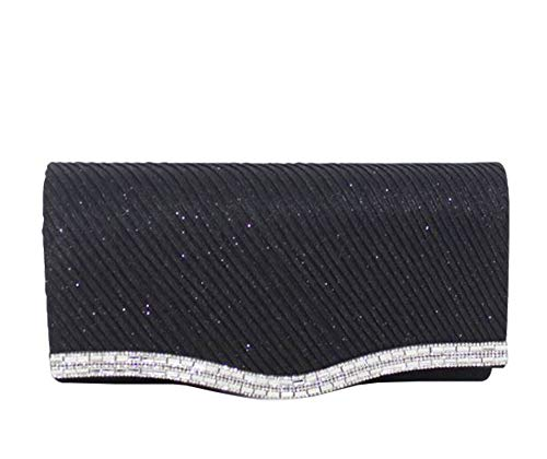 Detail Grey Shimmery Haute for Clutch Diva Bag Black Diamante fvxaqt