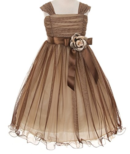 brown and champagne flower girl dresses - 3