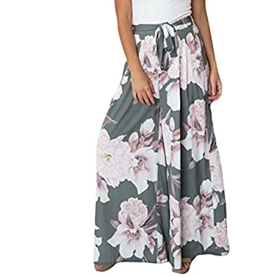 Pervobs Women Pants, Clearance! Women Fashion Loose Floral High Waist Elastic Waist Straight Wide Leg Pants Trousers from Pervobs