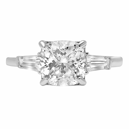 Clara Pucci 3.6ct Radiant Baguette Cut Simulated Diamond 3-Stone Classic Solitaire Designer Statement Ring 14k White Gold for Women, (Radiant Solitaire Ring)