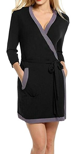 Jaycargogo Womens Casual Col V Couture 3/4 Robe À Manches Courtes Noir Robe