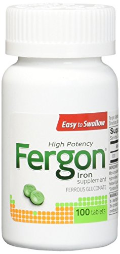 Fergon High Potency Iron Highly Soluble & Easily Digested, 27 mg Iron, 100 Tablets