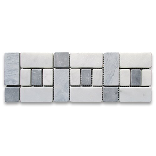 Carrara White Italian Carrera Marble Listello Tile Mosaic Border 4 x 12 Tumbled