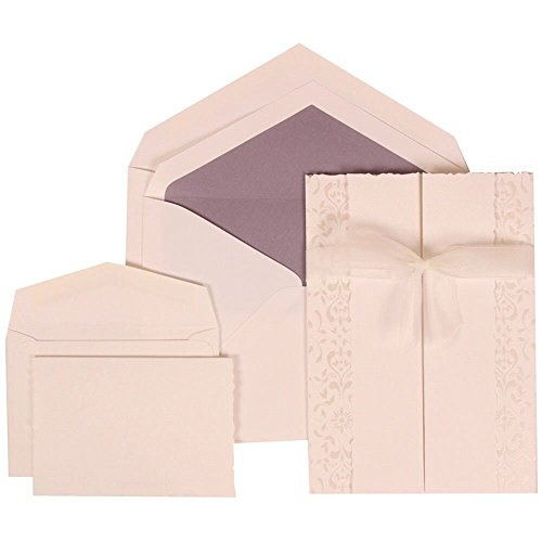 JAM Paper® Wedding Invitation Combo Set - White Card with Purple Lined Envelope with Ivory Castilian Ribbon - 1 Small & 1 Large Set - 150/pack by JAM Paper