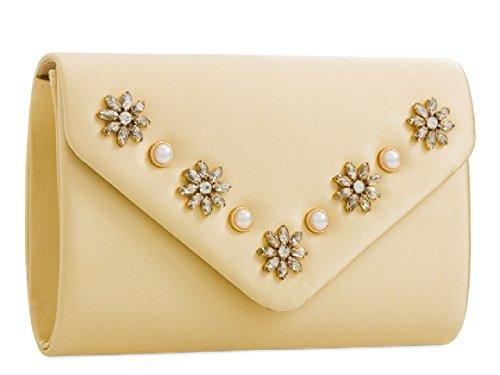 Evening Clutch Ladies Flower Envelope KZ2279 Handbag Stylish Red Bag Diamante Satin Women's 8q7Ux80