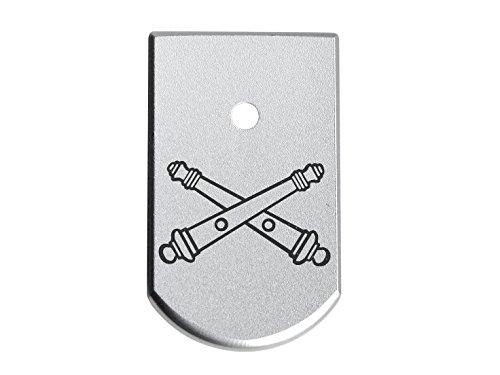 (Beretta 92 96 INOX Magazine Base Plate Silver NDZ - Crossed Cannons Artillery )