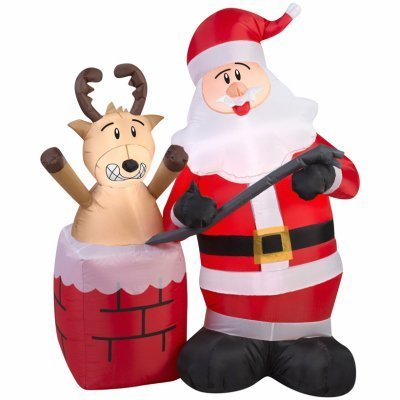 Outdoor Lighted Christmas Santa Reindeer Decoration - 3
