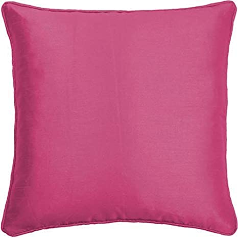 2x cojín relleno color fucsia Rosa Plain de seda sintética ...