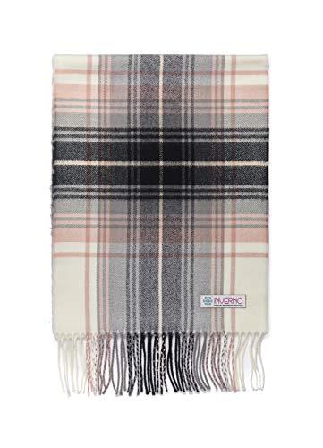 INVERNO Super Soft Luxurious Cashmere Feel Warm Winter Pattern Design Unisex Scarf (Pink Black White Plaid) ()