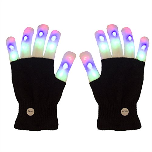 LED Gloves DAXIN DX Light up Rave Gloves Finger Light Gloves Kids Adults 6 Adjust Modes for LightShow/ Performances/ EDM/ Disco/ Party/ Gift/ Party Favors