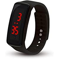Whiteswanau LED Sports Soft Silicone Watchband Electronic Wrist Watch Women Flexible Adjustable Digital Watch with Pin-and-Tuck Closure