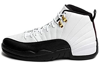 "Nike Mens Air Jordan 12 Retro ""Taxi"" White/Black-Taxi-Varsity Red Leather Basketball Shoes Size 8"
