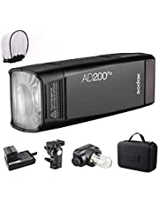 Godox AD200 Pro Version, 200Ws 2.4G Flash Strobe, 1/8000 HSS, 500 Full Power Flashes, 0.01-2.1s Recycling, 2900mAh Battery, Bare Bulb/Speedlite Fresnel Flash Head