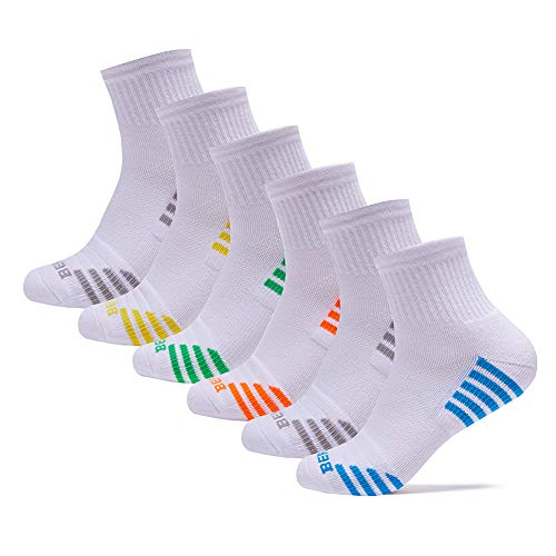 BERING Men's Performance Athletic Quarter Running Socks Comfort Fit Tab Socks (6 Pair Pack)