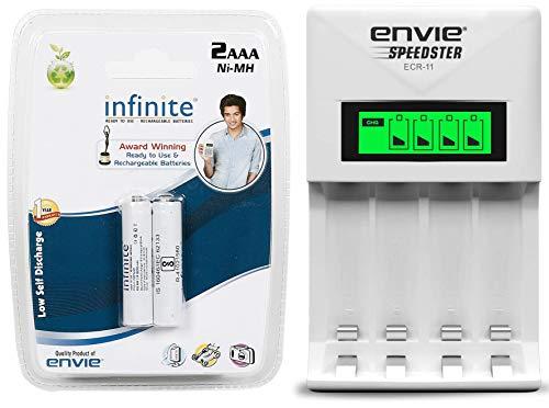 Envie AAA 800 Mah Infinite Rechargeable Battery Bundle + ERC   11 Speedster Charger for AAA Battery