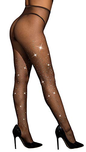 (Rhinestone Fishnet Stockings Sparkle Tights Crystals High Waist Diamond Glitter Pantyhose DORALLURE)