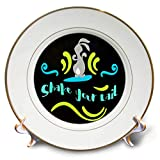 3dRose AMansMall Animal Typography - Rabbit Dancing Shake Your Tail, Bunny Typography, 3drsmm - 8 inch Porcelain Plate (cp_291802_1)