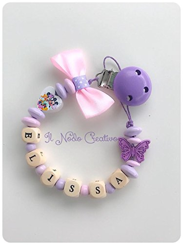 Cadena puerta chupete rosa Minnie disney | nombre adaptable: Amazon ...