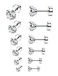 ORAZIO 6-8 Pairs 18G Stainless Steel Ear Stud Piercing Barbell Studs Earrings Round Cubic Zirconia Inlaid