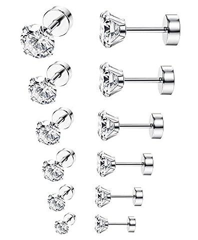 ORAZIO 6 Pairs 18G Stainless Steel Ear Stud Piercing Barbell Studs Earrings Round Cubic Zirconia - Ear Piercing Stud