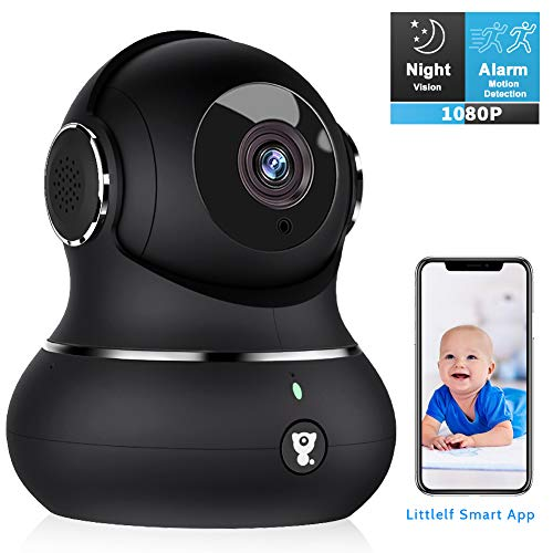 Indoor Wireless Security Camera, [2019 Newest] Littlelf Smart 1080P Home WiFi IP Pet Camera for Baby/Elder/Nanny Monitor with 2-Way Audio, Motion Tracking, Night Vision, Cloud Storage & SD Card