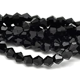 8 Strands New Black Faceted Bicone Crystal Glass Beads 6 x 6 mm