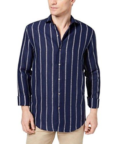 Tasso Elba Island Men's Boucle Stripe Shirt (Navy Combo, XXXL)