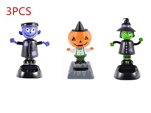URToys 3Pcs Desk Dancing Solar Toy Pumpkin &Witch& Ghost Doll Solar Powered Toys Dashboard For Car Oranment Office Desk Home Decor Novelty Solar Kids Halloween Supplies Toy]()