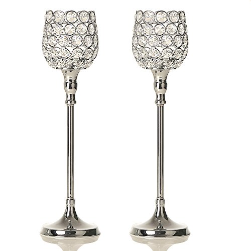 (VINCIGANT Silver Crystal Candlesticks Holders Set of 2 / Anniversary Celebration Dinning Room Table Centerpieces Decorations,2PCS 15 Inches Tall)