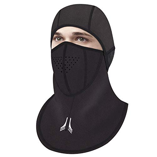 Balaclava Warm Face Mask, Micro-Polar Fleece Thermal Motorcycle Cycling Windproof and Waterproof Hood Winter Mask for Men Women (Black)