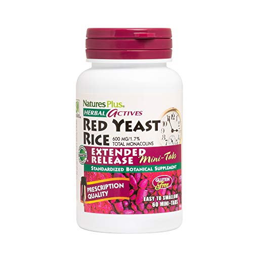 NaturesPlus Herbal Actives Red Yeast Rice, Extended Release - 600 mg, 60 Mini Tablets - Prescription Quality Herbal Supplement, Cholesterol Support - Vegan, Vegetarian, Gluten-Free - 30 Servings
