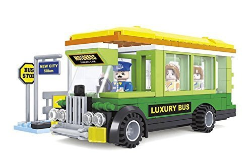 Ausini City Luxury Bus with Bus Stop and Action Figures Building Bricks 195pc Educational Blocks Set – Great Gift for - Bus Playtime