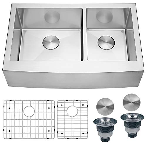Ruvati 33-inch Farmhouse Apron-Front 60/40 Double Bowl Kitchen Sink Stainless Steel - RVH9542