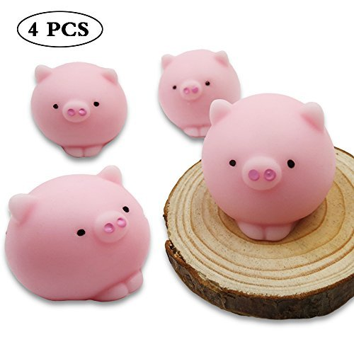 SUNNKE Squishy Toy Squeeze Cute Mini Animals Shape Fidget Stress Reliever Toy Pig Pack of 4