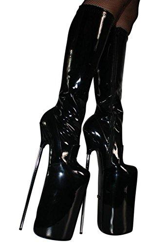 Erogance 30cm Extrem Plateau High Heels Lack Kniestiefel - Botas de charol para mujer negro