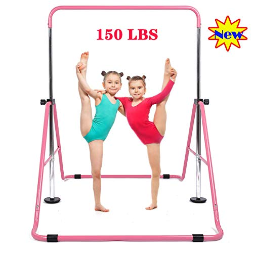 My Quality Life Gymnastics Bar Kids Expandable Gymnastic Bars Equipment for Home Adjustable Height Folding Kip Junior Training Bar 3-7 Years Old (Pink)