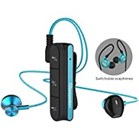 Wireless Detachable Earphones, Langsdom BX10 Bluetooth 4.1 USB Stereo Headphones with Magnetic Necktie Clip, Include Sport and Casual 2 Packs Earbuds for iPhone, iPad, Android phones, etc (BX10,Blue)