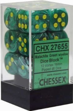Chessex Dice d6 Sets: Vortex Malachite Green with Gold - 16mm Six Sided Die (12) Block of Dice by Chessex