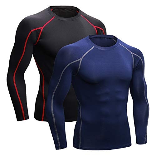Niksa 2Pcs Men's Compression Shirts Cool Dry Athletic Workout Running T Shirts