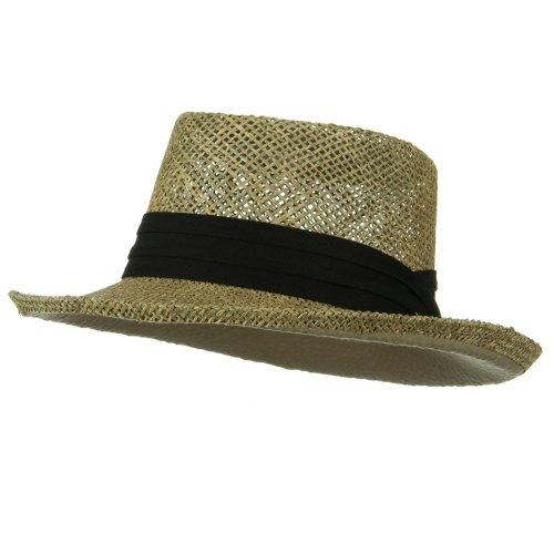 ML Banded Gambler Straw Hat - Black (Ml Straw Hat)