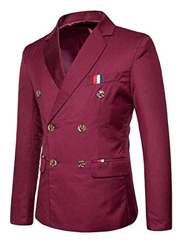 Mfasica Men's Double-Breasted Pure Colour Business Coat Jacket Suit Wine Red XL by Mfasica