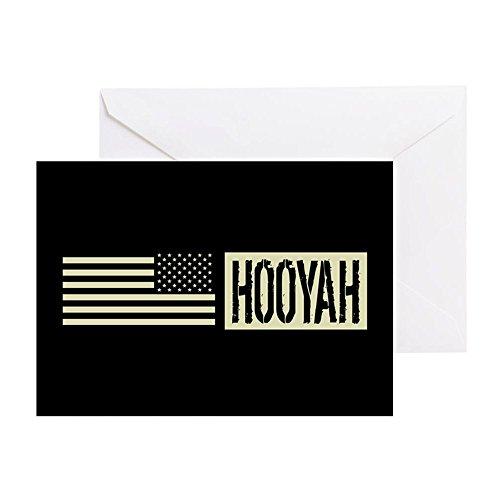 Flag Square Battle (CafePress - U.S. Navy: Hooyah (Black Flag) - Greeting Card, Note Card, Birthday Card, Blank Inside Matte)